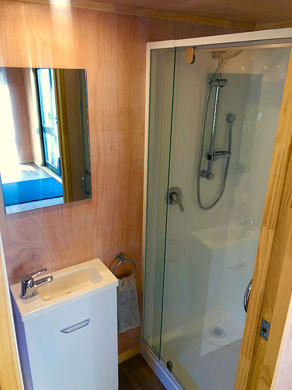 bathroom in tiny home showing shower and vanity