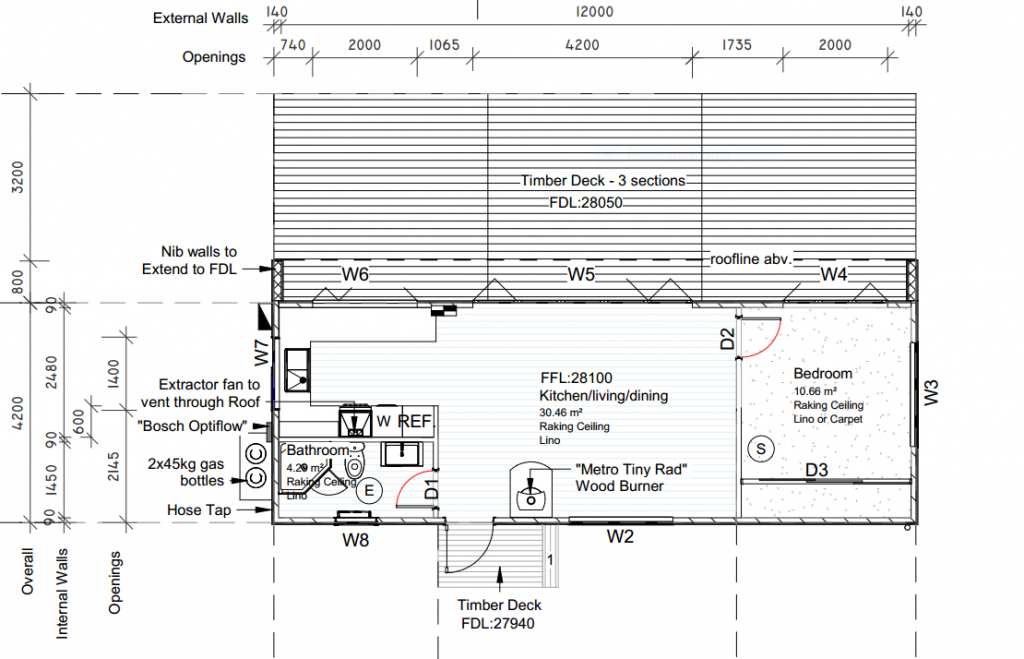 Design Plans, 50m2 Tiny Home on Foundations